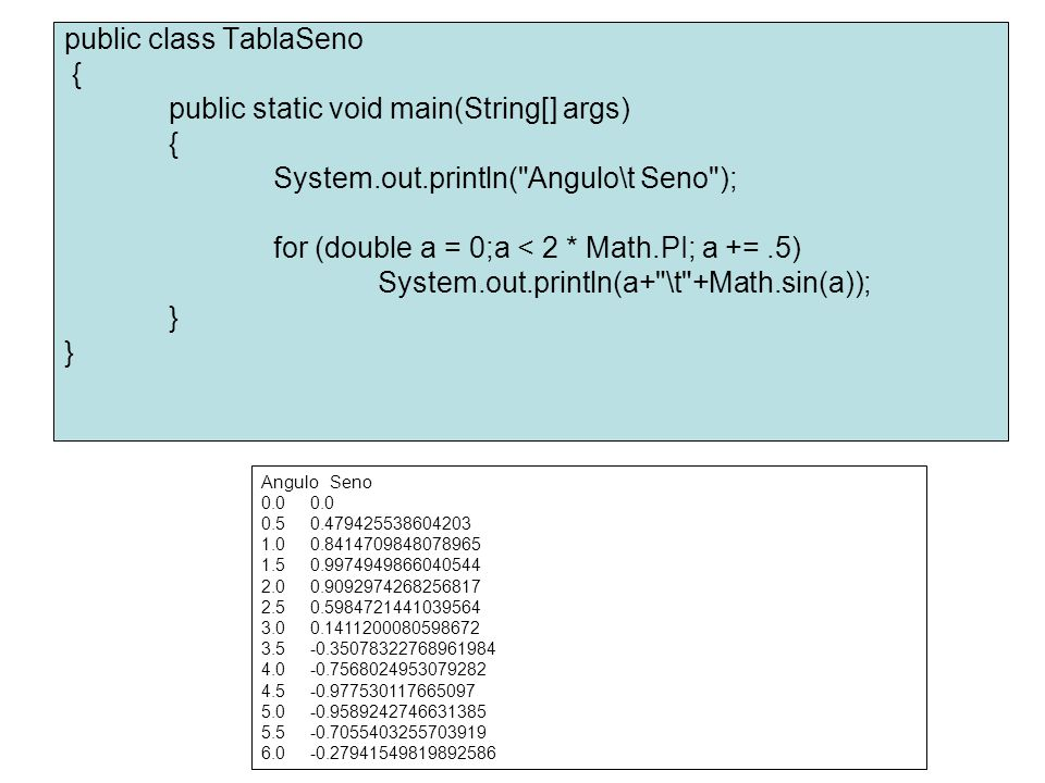 public class TablaSeno { public static void main(String[] args)